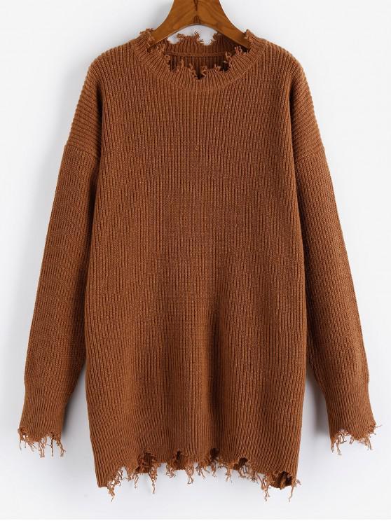 unique ZAFUL Frayed Drop Shoulder Tunic Sweater - CHESTNUT M