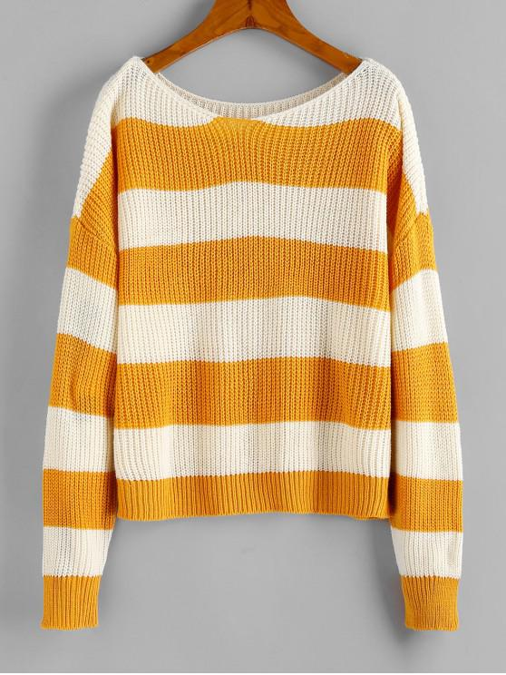 hot ZAFUL Two Tone Drop Shoulder Sweater - BEE YELLOW ONE SIZE