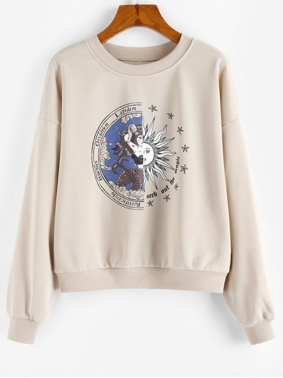 ZAFUL Sweat-shirt Graphique à Goutte Epaule - Kaki Léger M