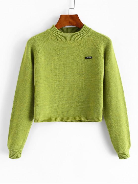 women Crew Neck Raglan Sleeve Crop Sweater - AVOCADO GREEN ONE SIZE