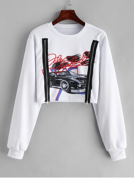 lady Letter Car Graphic Zipper Crop Sweatshirt - WHITE L
