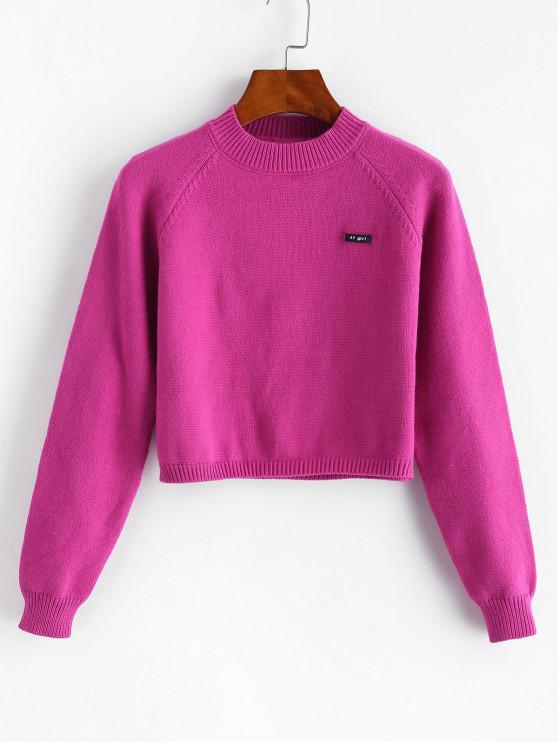 latest Crew Neck Raglan Sleeve Crop Sweater - ROSE RED ONE SIZE
