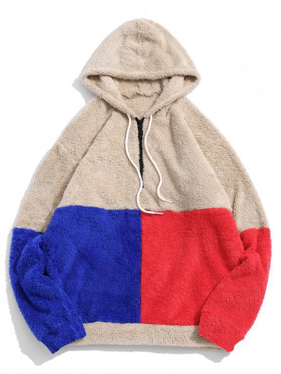 women's ZAFUL Color-blocking Splicing Half Zipper Fuzzy Hoodie - LIGHT KHAKI XL