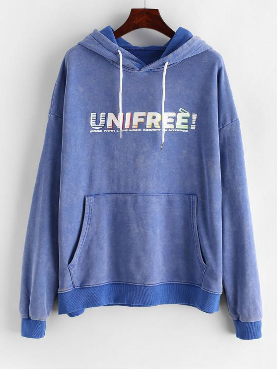 unique Letter Graphic Drop Shoulder Longline Hoodie - BLUE XL