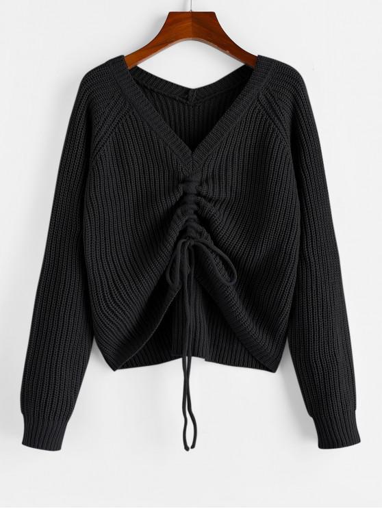 buy ZAFUL V Neck Shirred Ribbed High Low Sweater - BLACK S