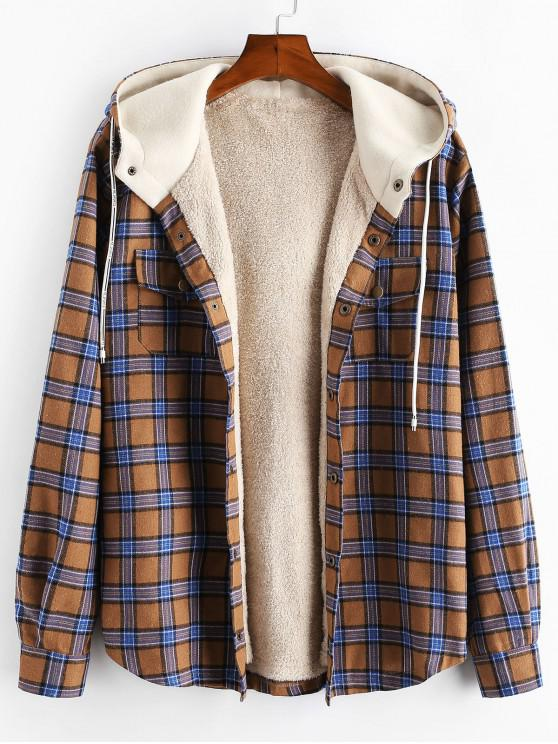 trendy Plaid Chest Pocket Fleece Drawstring Hooded Jacket - CAMEL BROWN M
