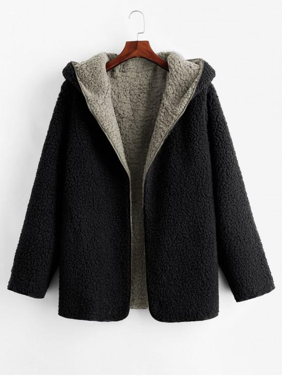 fancy Hooded Open Front Lamb Wool Teddy Coat - GRAY S