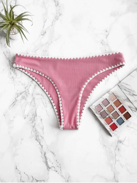 women's ZAFUL Whip Stitch Ribbed Low Waisted Bikini Bottom - HOT PINK S