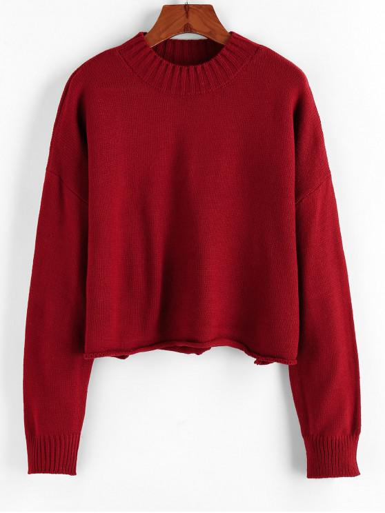 hot ZAFUL Drop Shoulder Rolled Hem Sweater - RED WINE ONE SIZE
