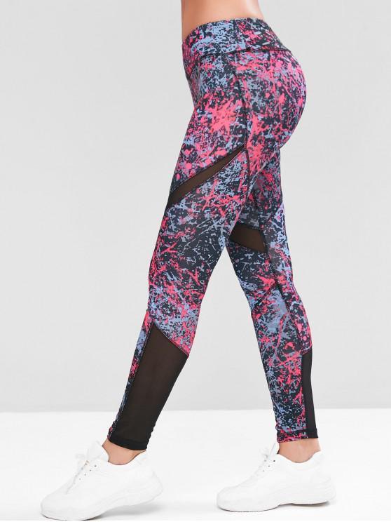 womens Mesh Panel Hidden Pocket Mid Rise Gym Leggings - MULTI-D M