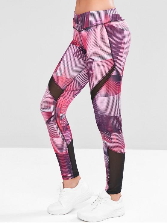women Mesh Panel Hidden Pocket Mid Rise Gym Leggings - MULTI-E L