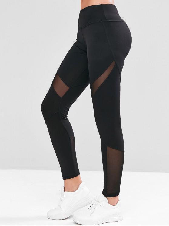 shop Mesh Panel Hidden Pocket Mid Rise Gym Leggings - BLACK XL
