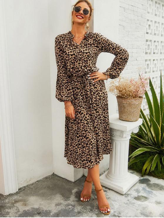 hot Leopard Print Half Button Drawstring Dress - LEOPARD M