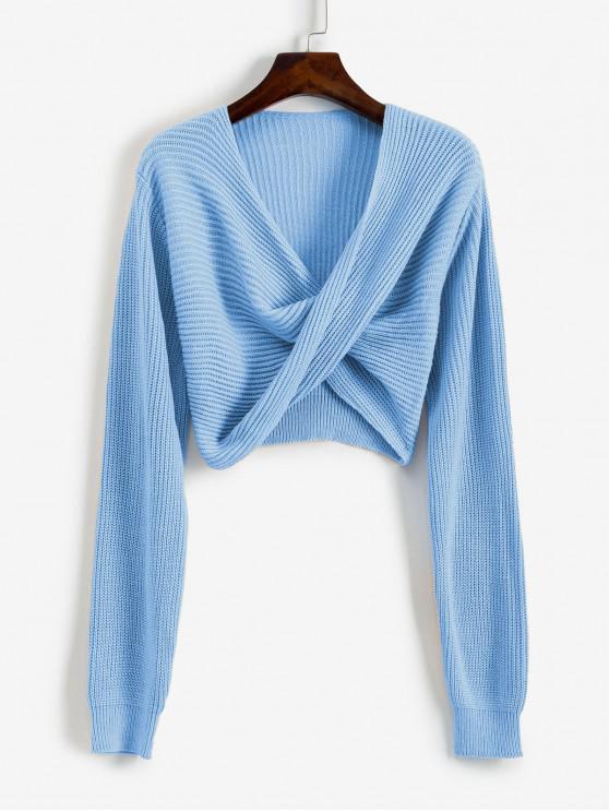 shop V Neck Cropped Twist Front Sweater - BLUE KOI M