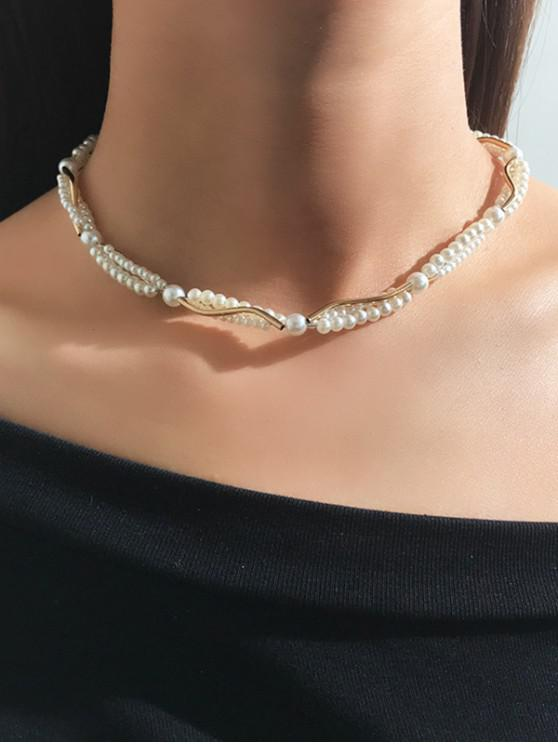 chic Alloy Faux Pearl Collarbone Necklace - WHITE