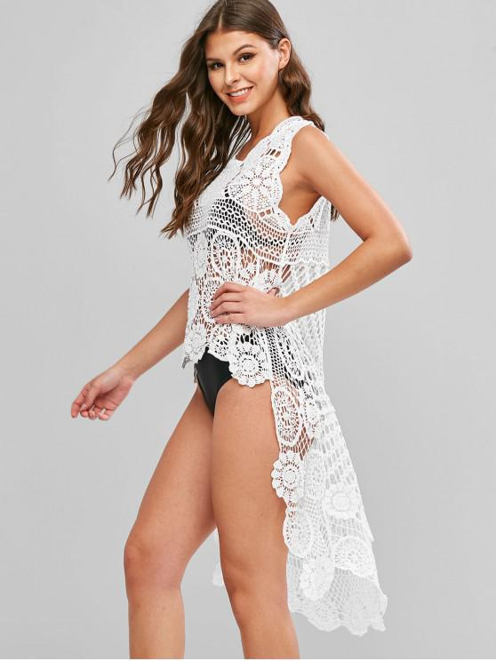 trendy Crochet High Low Cover-up Top - WHITE ONE SIZE