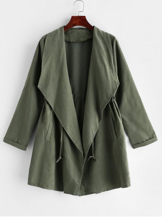 ladies Solid Longline Drawstring Pockets Coat - CAMOUFLAGE GREEN XL