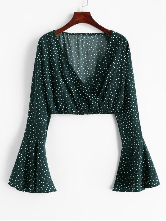 hot Flare Sleeve Dotted Cropped Blouse - MEDIUM SEA GREEN M