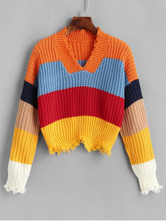 women Color-blocking Frayed Chunky Knit Sweater - MULTI-A ONE SIZE
