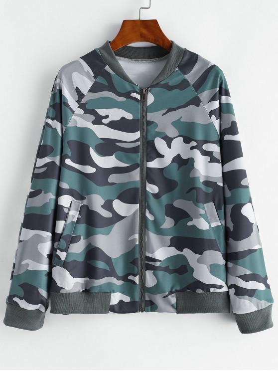 shops Camo Zip Pocket Raglan Sleeve Jacket - MULTI-A M