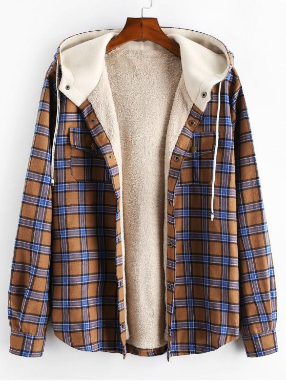 chic Plaid Chest Pocket Fleece Drawstring Hooded Jacket - CAMEL BROWN XL