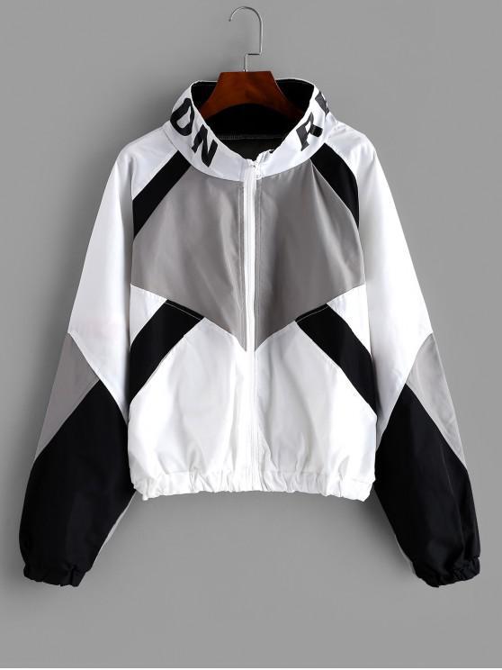 fancy Zip Front Snake Leopard Colorblock Windbreaker Jacket - WHITE M