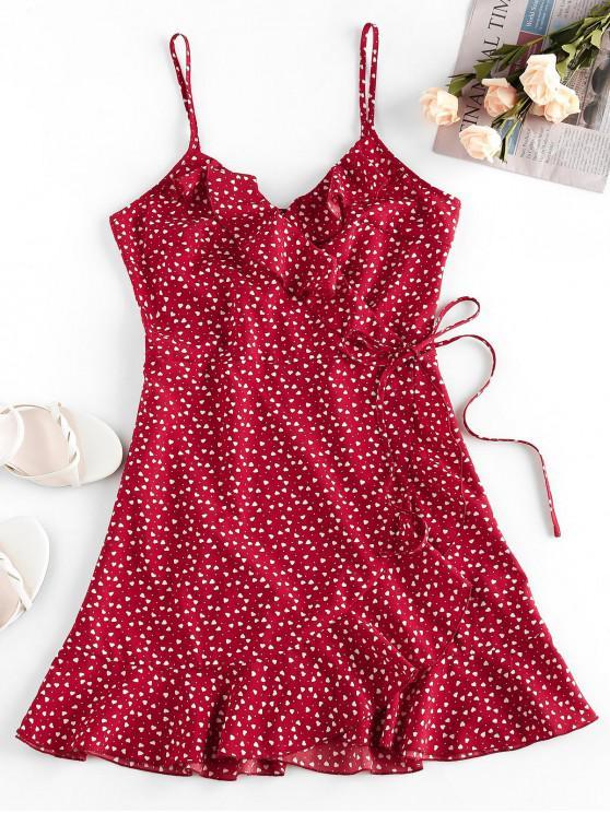 shops ZAFUL Heart Ruffle Cami Mini Dress - RED WINE XL