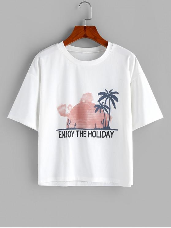 fancy ZAFUL Letter Coconut Palm Drop Shoulder Loose T-shirt - WHITE XL