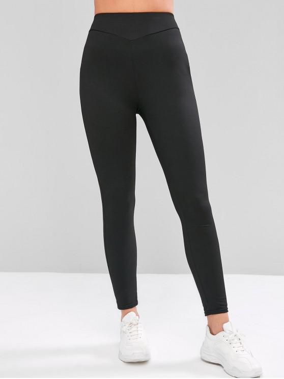 chic ZAFUL High Waist Solid Color Leggings - BLACK L