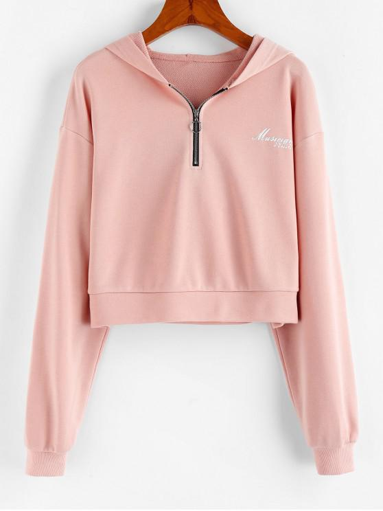 sale ZAFUL Musician Graphic Drop Shoulder Half Zip Hoodie - LIGHT PINK XL