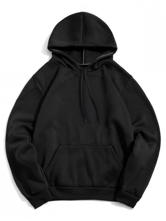 lady Solid Color Pocket Design Casual Hoodie - BLACK XL