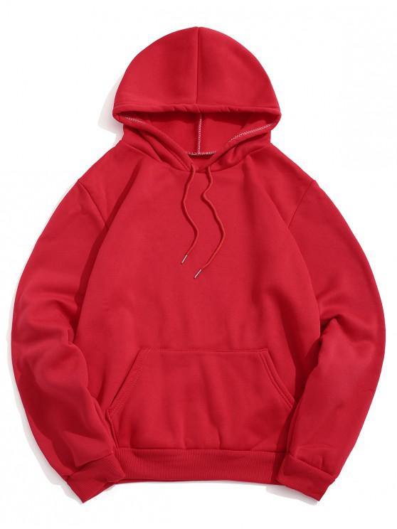women's Solid Color Pocket Design Casual Hoodie - RED L