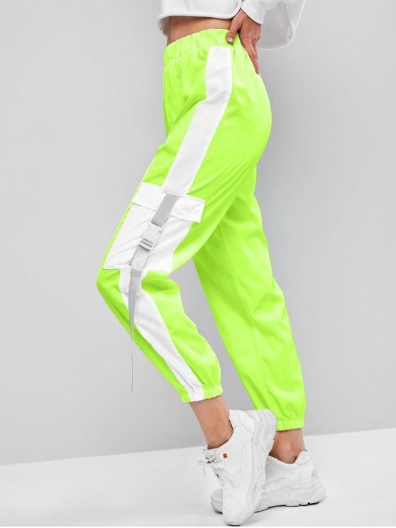 lady Flap Pockets Push Buckle Colorblock Jogger Pants - TEA GREEN M