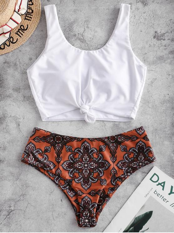 women ZAFUL Knot Paisley Print Tankini Swimsuit - CHOCOLATE M