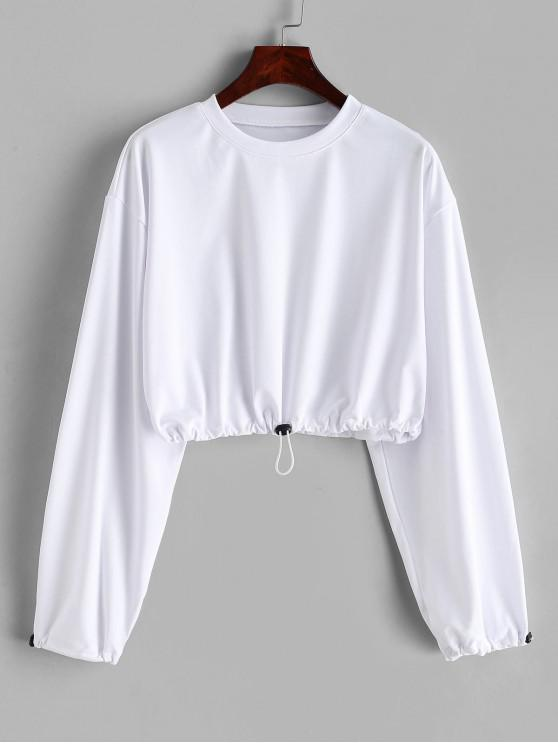 Sweat-shirt Court à Goutte Epaule à Cordon - Blanc M
