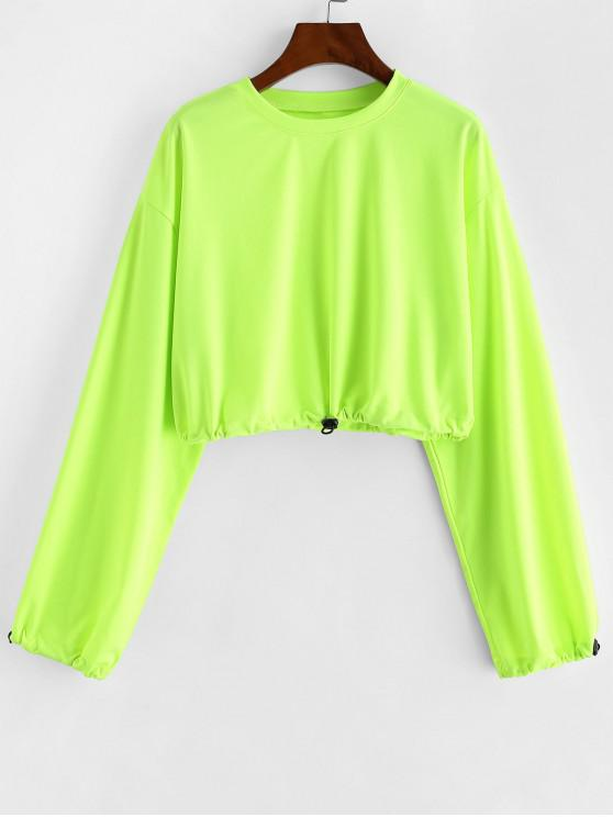 online Toggle Drawstring Drop Shoulder Crop Sweatshirt - GREEN YELLOW L