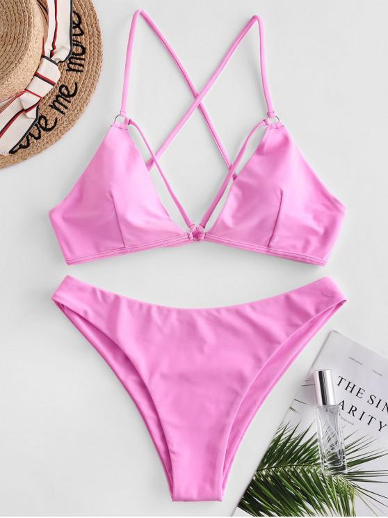 Costume da Bagno Bikini Incrociato di ZAFUL con Spalline - Rosa chiaro S