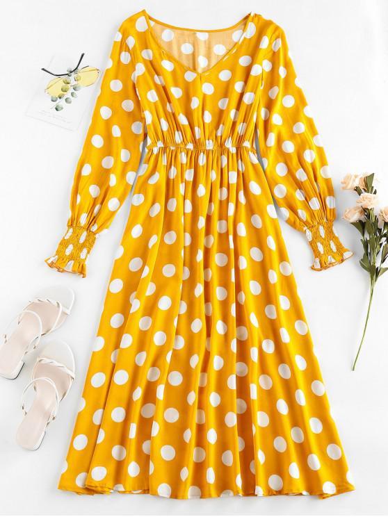 women's ZAFUL Polka Dot Smocked Cuffs Midi Dress - GOLDENROD S