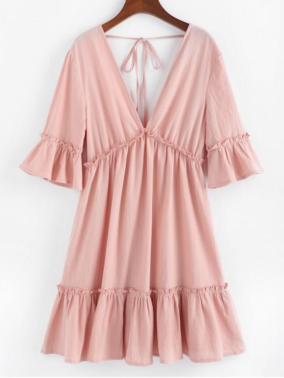 sale ZAFUL Bell Sleeve Ruffle Plunging Dress - ROSE L
