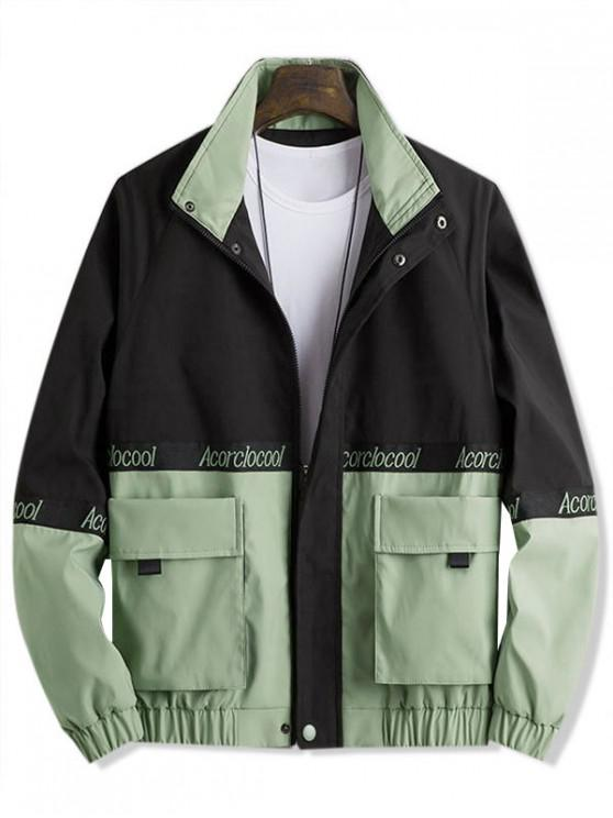 lady Colorblock Spliced Embroidery Letter Character Jacket - SEA GREEN 3XL
