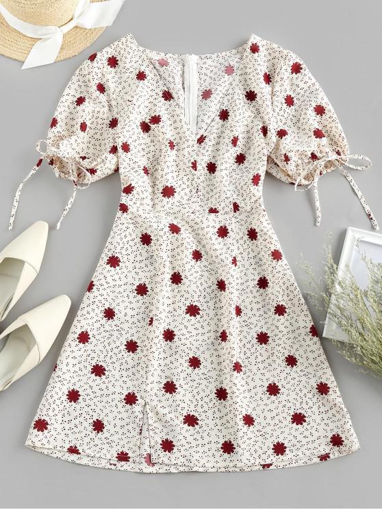 sale ZAFUL Ditsy Print Plunging Slit Tie Cuffs Dress - BEIGE S