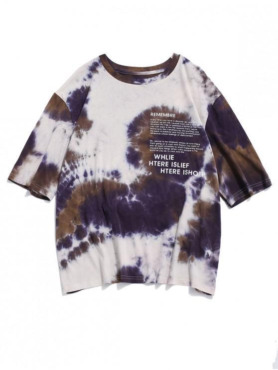 ZAFULタイダイレターグラフィックプリント半袖Tシャツ - マルチ S