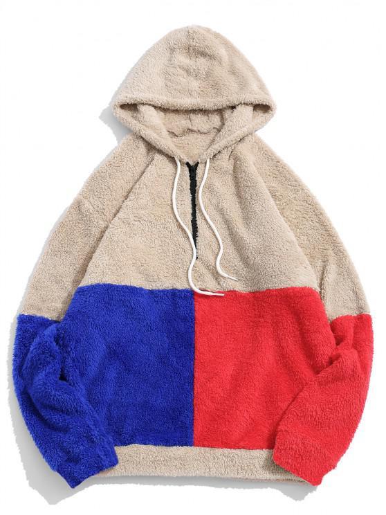 affordable ZAFUL Color-blocking Splicing Half Zipper Fuzzy Hoodie - LIGHT KHAKI L