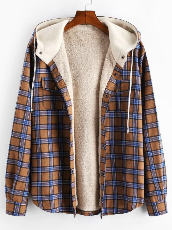 fashion Plaid Chest Pocket Fleece Drawstring Hooded Jacket - CAMEL BROWN L
