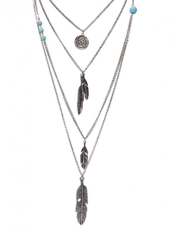fashion Artificial Turquoise Feather Layered Pendant Necklace - SILVER