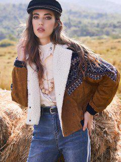 ZAFUL Double Breasted Tribal Print Faux Shearling Collar Corduroy Jacket - Multi S
