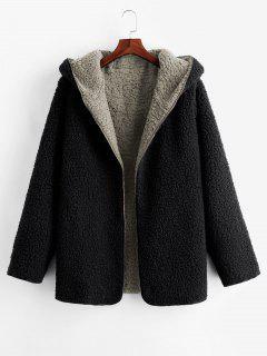 Hooded Open Front Lamb Wool Teddy Coat - Gray L