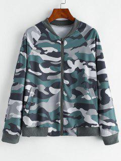 Camo Zip Pocket Raglan Sleeve Jacket - Multi-a M