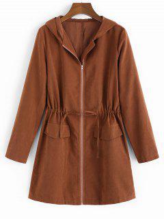ZAFUL Hooded Waist Drawstring Coat - Chestnut S