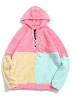 ZAFUL Color-blocking Splicing Half Zipper Fuzzy Hoodie - Watermelon Pink S